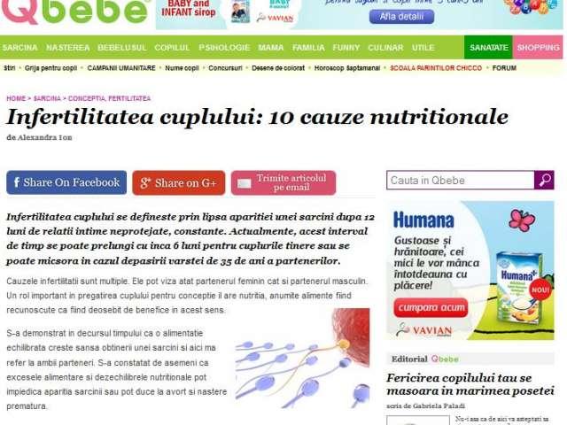 Infertilitatea cuplului: 10 cauze nutritionale