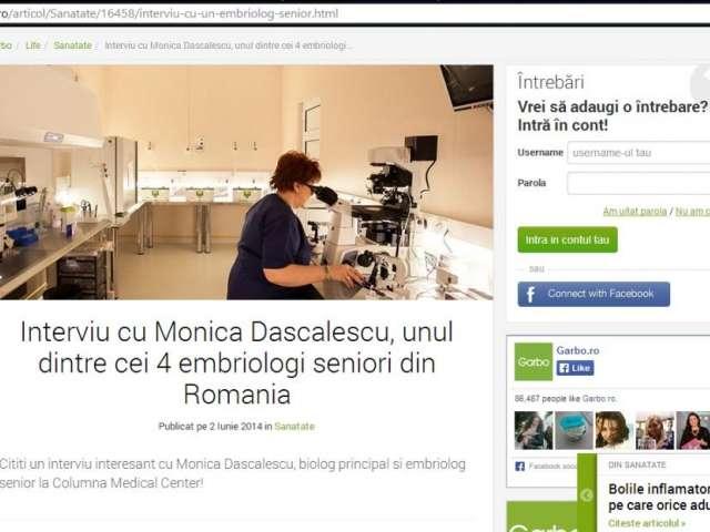 Interviu cu Monica Dascalescu, unul dintre cei 4 embriologi seniori din Romania