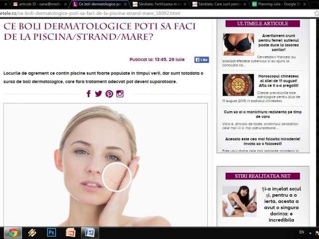 Ce boli dermatologice poti sa faci de la piscina/strand/mare?