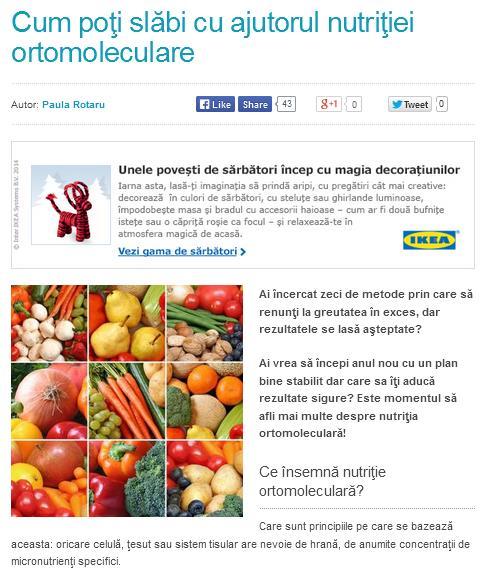 Cum poţi slăbi cu ajutorul nutriţiei ortomoleculare
